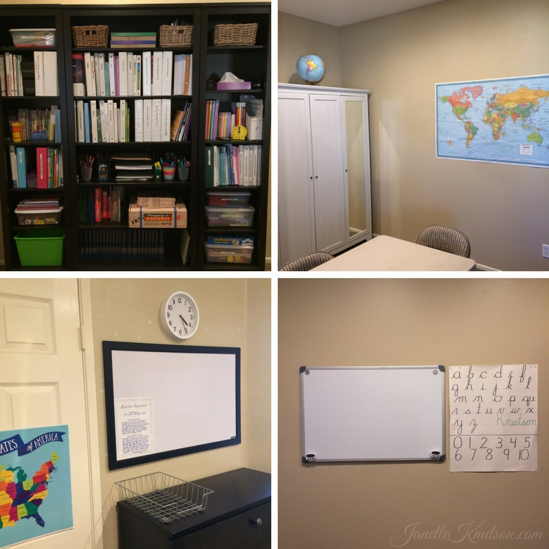 Mom of 7 gives a homeschool room tour.