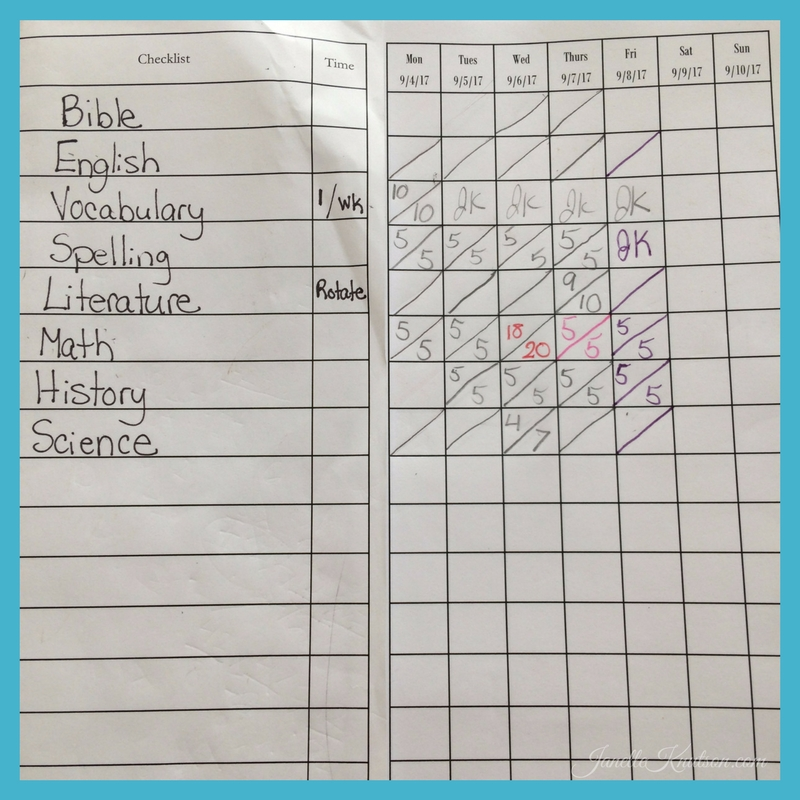 how my 7th grader uses My Student Logbook to record grades