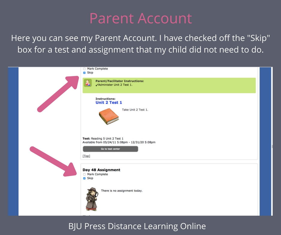 BJU Press Distance Learning Parent Account