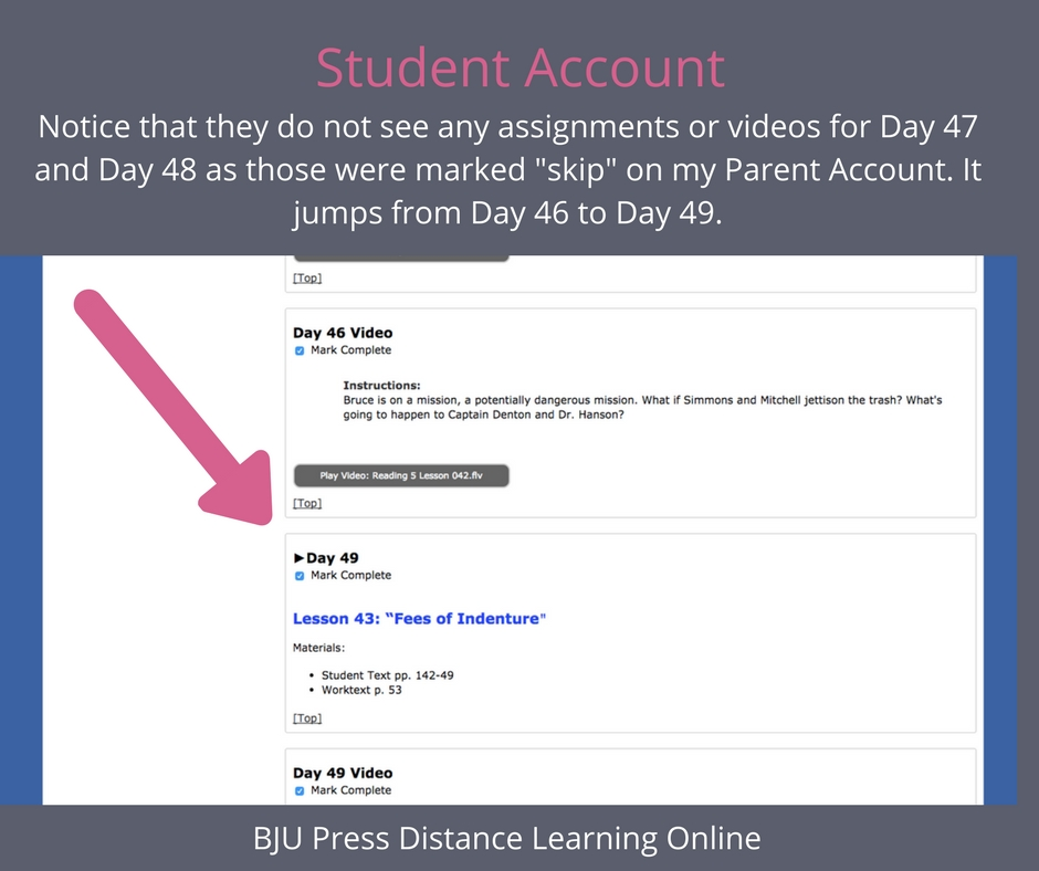 BJU Press Distance Learning online student account