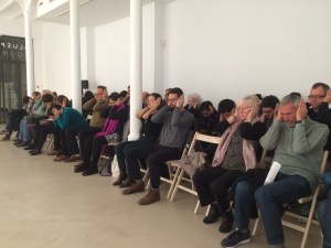 Breathe In/Breathe Out (by Pauline Oliveros) with the audience in the Blue Project Foundation, Nov. 12, 2016, Barcelona