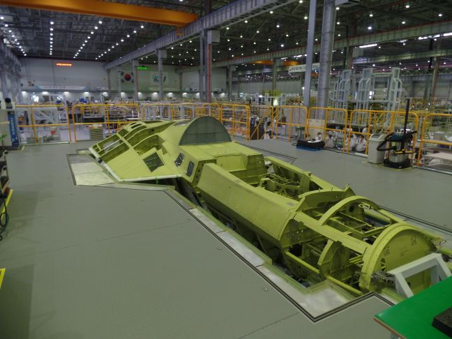 An image showing the fuselage of the first KF-X prototype at KAI's assembly facility in Sacheon. The company has revealed that it plans to roll out the first protype aircraft in April 2021.  (KAI)