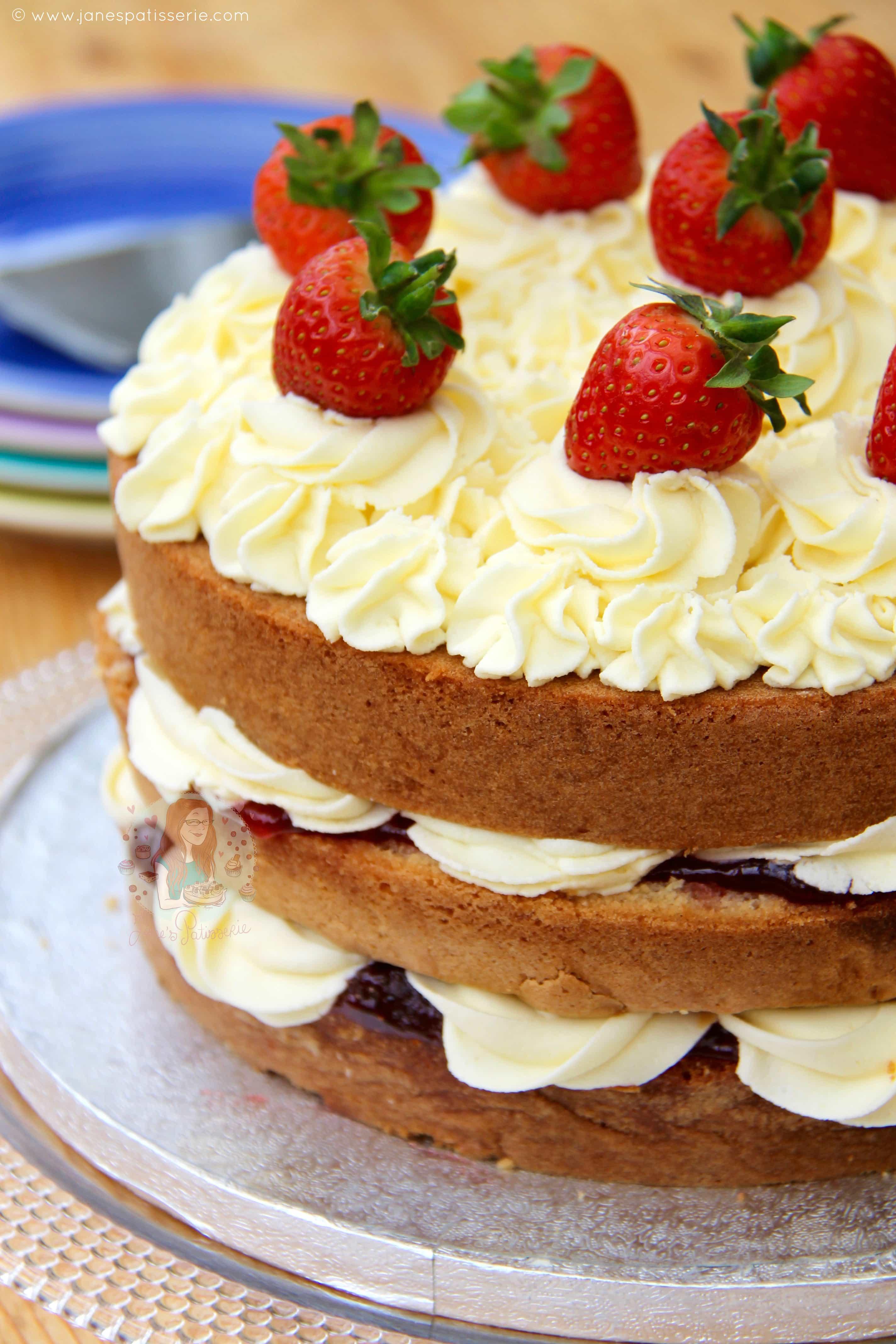 Pleasing Victoria Sponge Celebration Cake Janes Patisserie Personalised Birthday Cards Arneslily Jamesorg