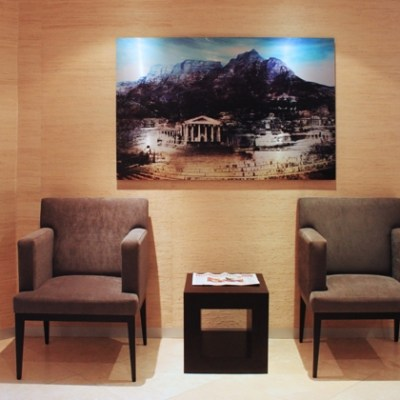 Landscape showing the University of Cape Town in the Cape Town office lobby of PPS Investments