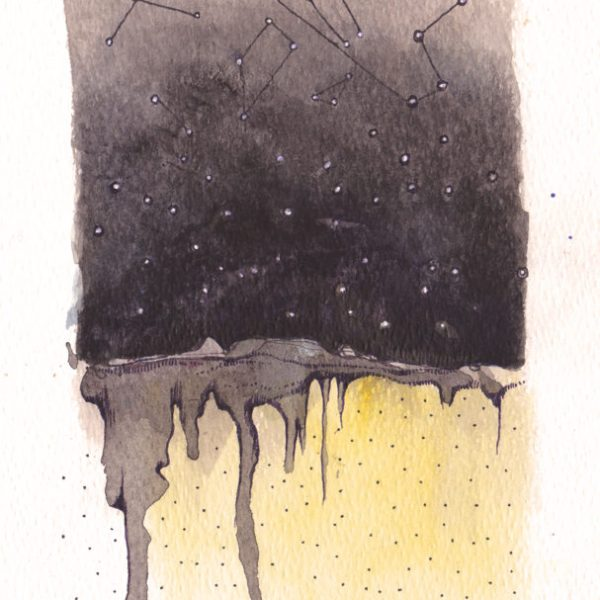 Darkness brings Wisdom,  Watercolour & ink on acid free paper,  200 x 135mm,  2013