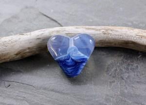 Foggy Sea Heart Glass Bead - janetcrosby.com