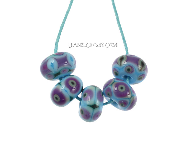 Quilted- Set of 5 Handmade Glass Beads by Janet Crosby