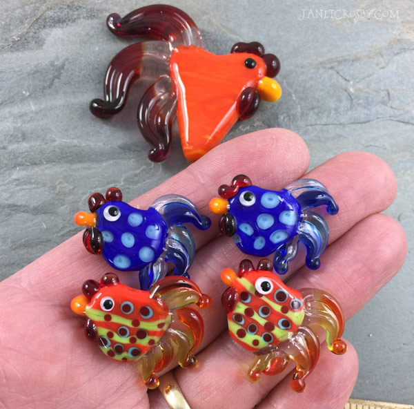 Mini Lampwork Glass Rooster Beads - www.JanetCrosby.com