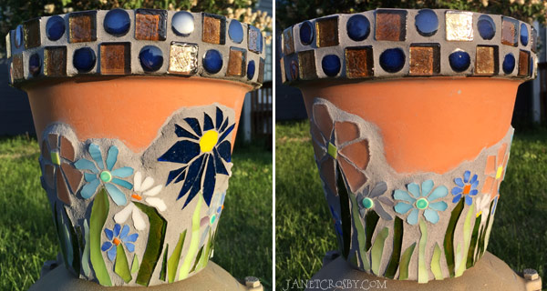 Stained Glass Mosaic Flower Pot - JanetCrosby.com