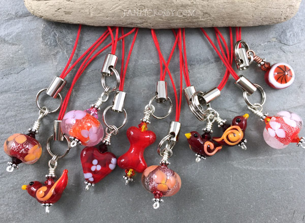 Red Glass Charms by Janet Crosby