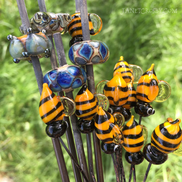Bees And Blues - handmade glass beads and headpins by Janet Crosby