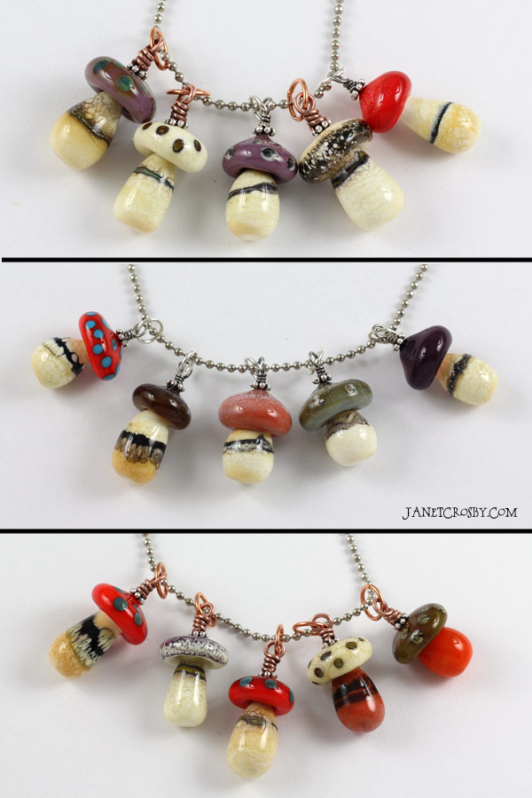 Many Mushroom Necklaces - janetcrosby.com