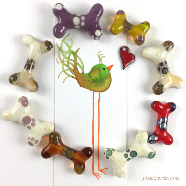 Fall-inspired glass dog bones (and bird)