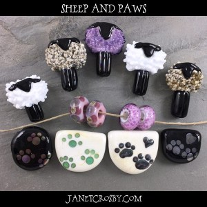 Sheep And Paws - new lampwork - www.janetcrosby.com
