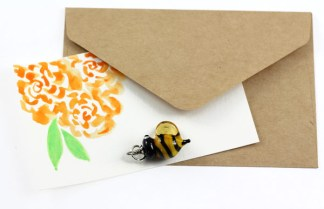 Bee Charm With Watercolor Note by Janet Crosby