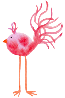 Pink Watercolor Bird Feather Friday - janetcrosby.com