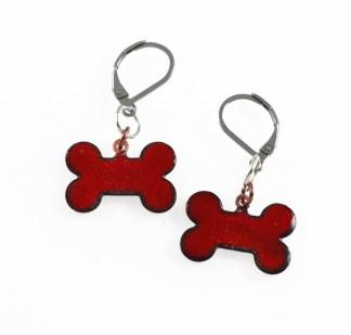 Red Dog Bone Enameled Earrings by Janet Crosby