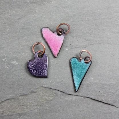 Enameled Heart Charm Trio by Janet Crosby