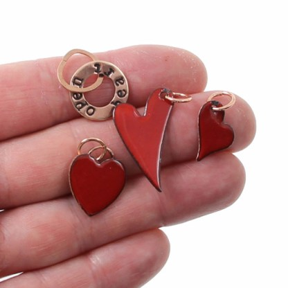 Enameled Heart Sizes