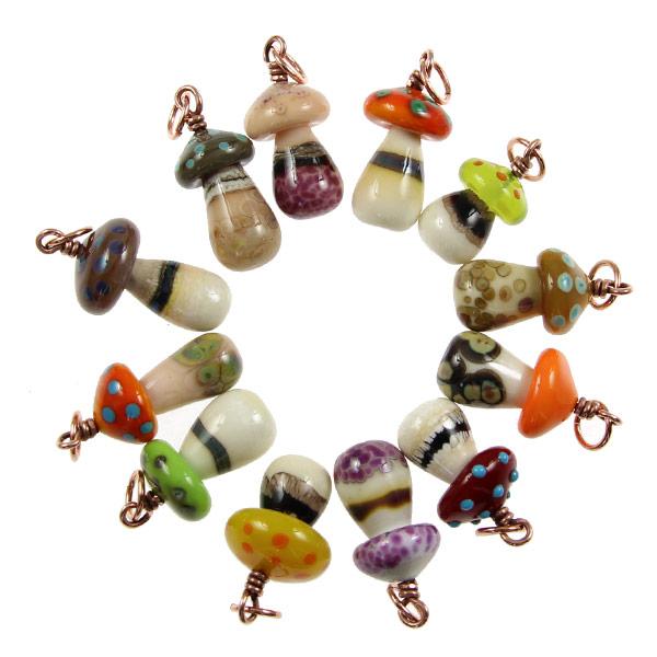 Glass Mushroom Pendants by Janet Crosby