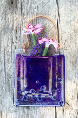 Cobalt raindrops -- Fused Glass flower vase by Janet Crosby
