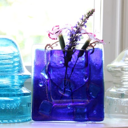 Cubes and Bubbles -- Fused Glass flower vase by Janet Crosby