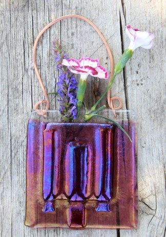 Red Ribbons -- Fused Glass flower vase by Janet Crosby