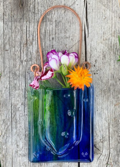 Spring Creek Rain -- Fused Glass flower vase by Janet Crosby
