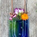 Spring Creek Rain -- Fused Glass flower vase by Janet Crosby