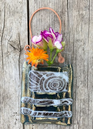 Organic Architecture -- Fused Glass flower vase by Janet Crosby