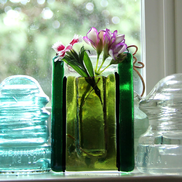 Twilight Leaves -- Fused Glass flower vase by Janet Crosby
