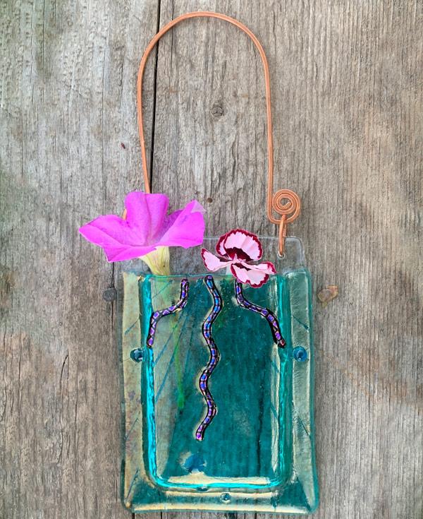 Undersea Rays -- Fused Glass flower vase by Janet Crosby