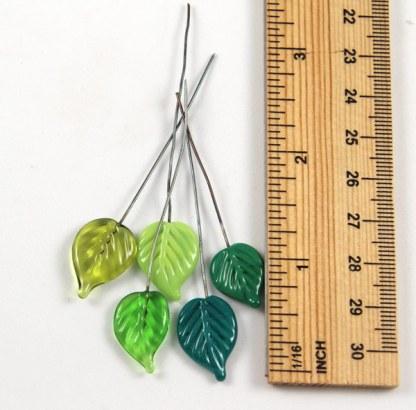 Green Leaf Headpins by Janet Crosby