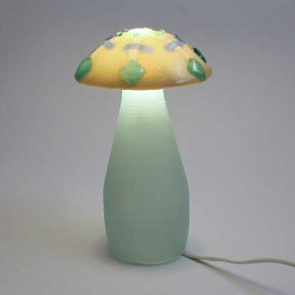 Fused glass mushroom lamp by Janet Crosby