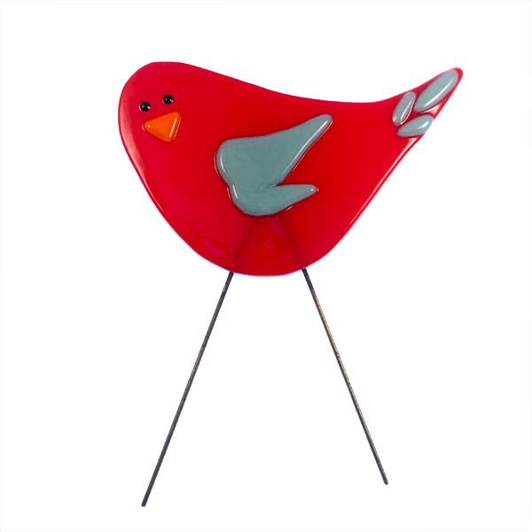 Garden Bird - Red Blue by Janet Crosby