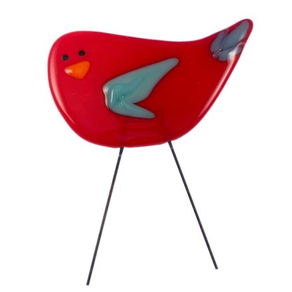 Garden Bird - Red Blue Fancy by Janet Crosby