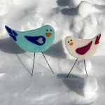 Garden Birds - Red Wing and Blue Bird by Janet Crosby