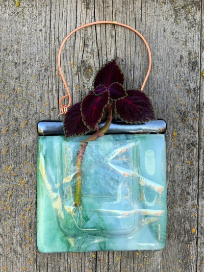 Glass Ribbons fused glass pocket vase by Janet Crosby