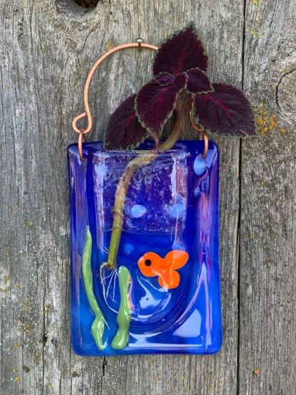 Goldfish Bowl fused glass pocket vase by Janet Crosby
