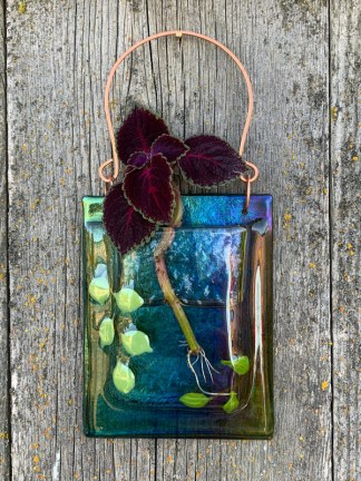 Rainbow Spring Leaves fused glass pocket vase by Janet Crosby