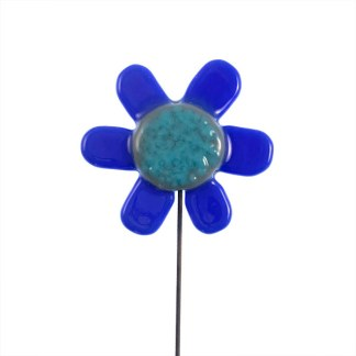 Garden Stake - Blue Petal Flower