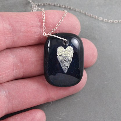 Blue Galaxy Heart Pendant by Janet Crosby