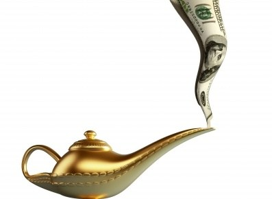 a dollar bill coming out of a genie bottle like smoke