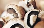 mushrooms cut on a white board.