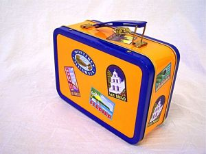 an old-fashioned child's metal lunch box