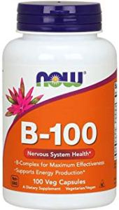 a bottle of NOW B-100 vitamin