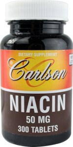 a bottle of Carlson's B-50 niacin