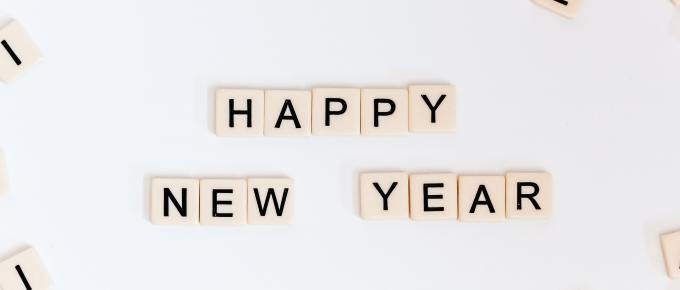 scrabble alphabet letters spelling Happy New Year