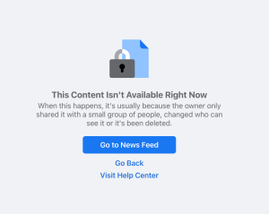 another facebook notice taking my article down