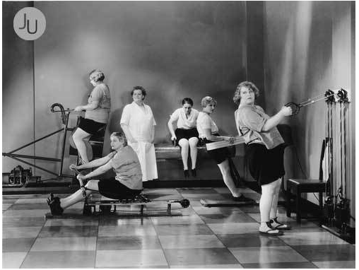 black and white image of women in old fashioned gym